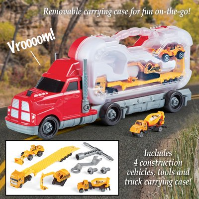 Boys Take Apart Transport Car Carrier Truck, Construction Set, Tools Included, Button Activated Sounds