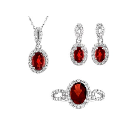 Sterling Silver Garnet, Pendant, Earring, Ring 3pc Set, 18""