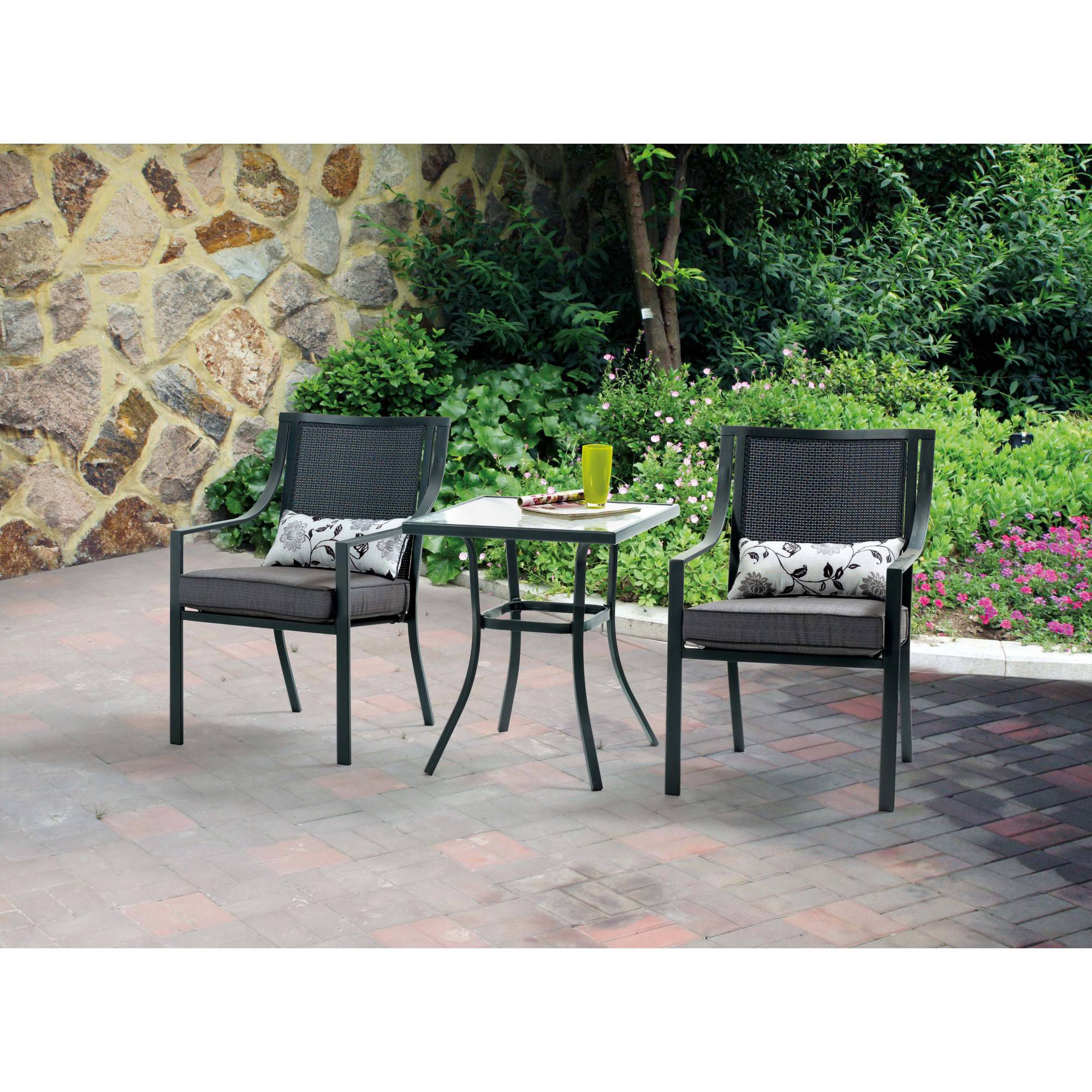 mainstays alexandra square 3 piece outdoor bistro set grey with leaves seats 2 walmartcom - Garden Furniture 3 Piece