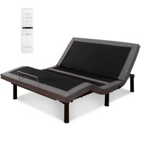 Costway Adjustable Massage Bed Base Upholstered Wireless Remote USB Ports Queen