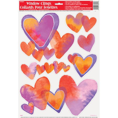 Watercolor Hearts Valentine's Day Window Cling Sheet, 1ct for $<!---->