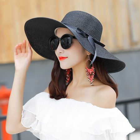 9b6b3f4027b30 Women s Beach Hat Portable Packable Roll Up Wide Brim Sun Visor UV  Protection Floppy Crushable Straw Beach Hat Bonnet Beach Cap Sun Hat for  Women Ladies