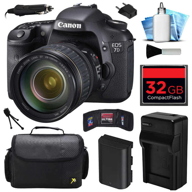 Canon EOS 7D DSLR SLR Digital Camera w/ 28-135mm IS USM Lens (32GB Value Bundle)