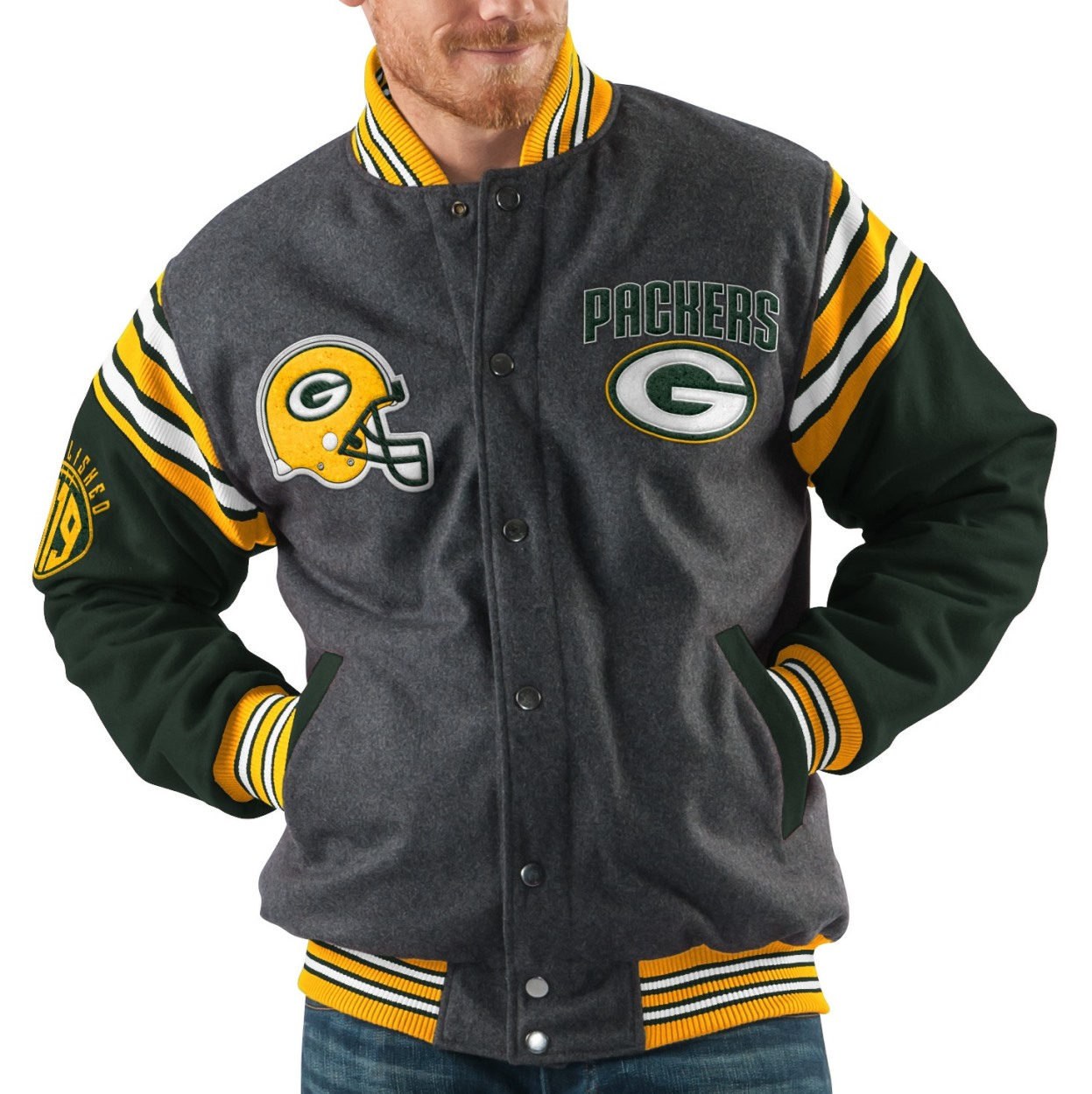 "Green Bay Packers NFL Men's G-III ""Edge"" Reversible Wool Jacket by G-III Sports"