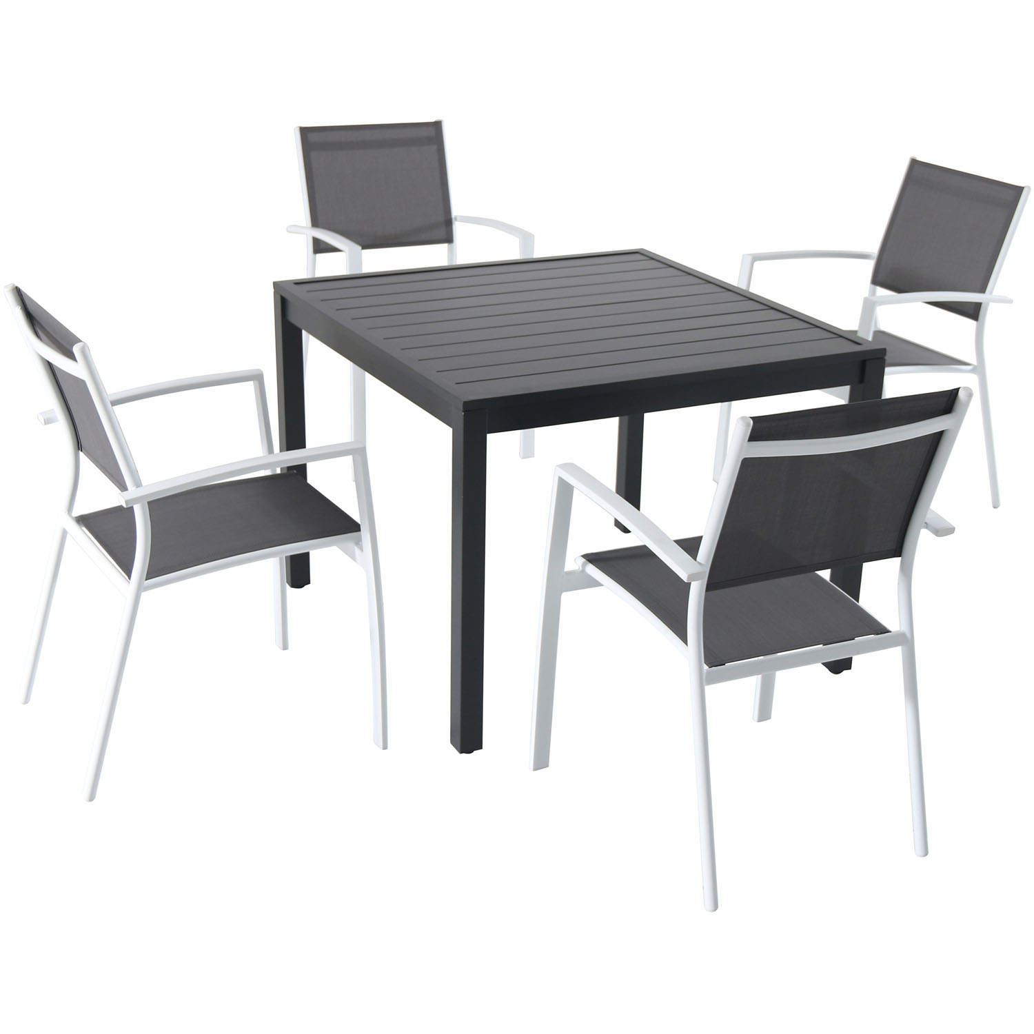 "Hanover Naples 5-Piece Outdoor Dining Set with 4 Sling Arm Chairs and a 38"" Square Dining Table"