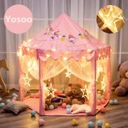 Yosoo Kids Play Tent, Fairy Princess Castle Tent, Pink Tents for Girls, Large Hexagon Playhouse, Portable Play Tent Toy for Boys Girls Child Toddlers Indoor Outdoor - with LED Star Lights - 55x53x55""