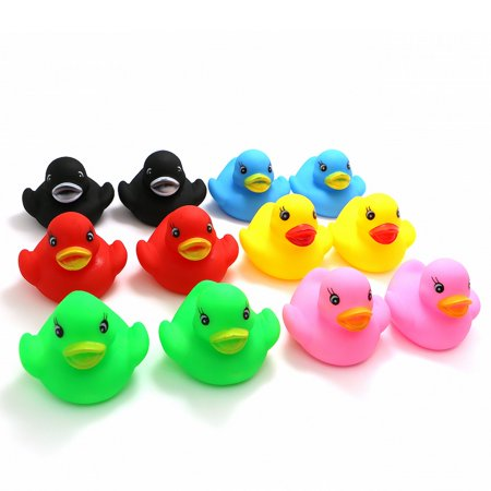 Novelty Place [Float & Squeak] Rubber Duck Ducky Baby Bath Toy for Kids Assorted Colors (12 (Swimming Rubber Ducky)