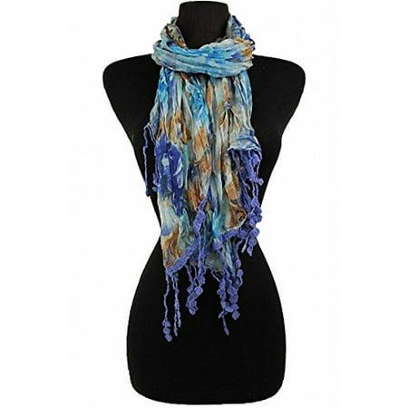 - Sassy Scarves Women's Paisley Pattern Lightweight Oblong Fashion Scarf (Blue-11297)