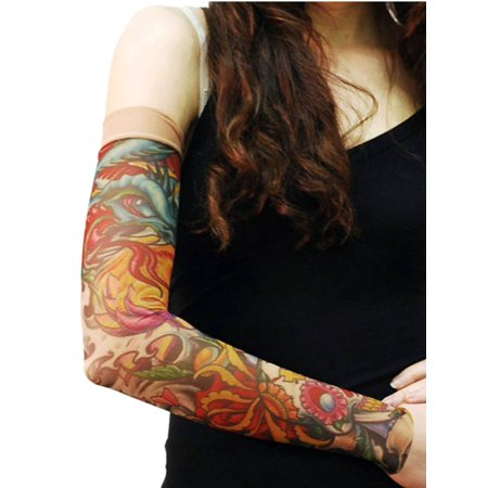 Skull And Roses Tattoo Sleeve (Wild Rose Unisex Single Tattoo Mesh Sleeve, Sugar Skull,)