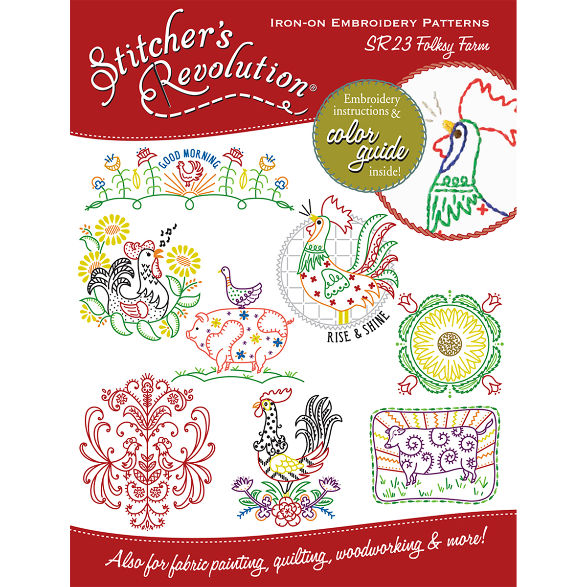 Stitcher's Revolution Folksy Farm Iron-On Transfer Pattern for Embroidery Multi-Colored