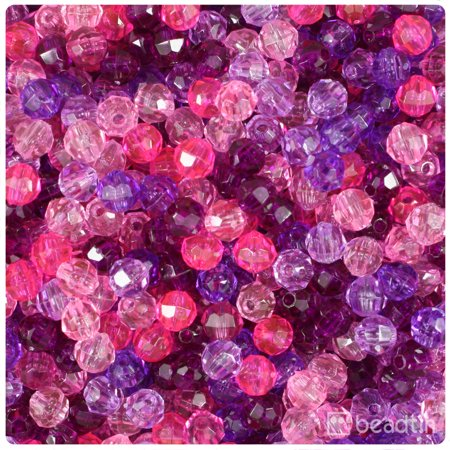 BeadTin Pink & Purple Transparent 6mm Faceted Round Craft Beads (Sodalite 6mm Round Beads)