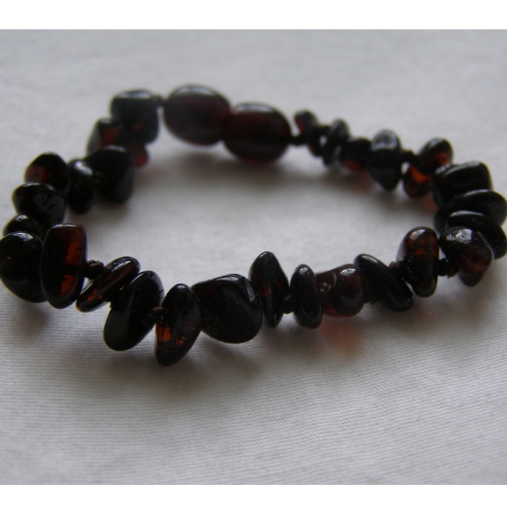 Baltic Amber Baby Teething Bracelet - Dark Cherry