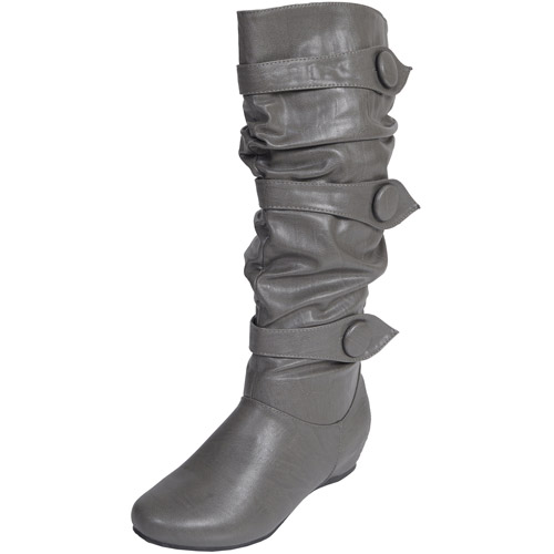 Brinley Co. - Women's Button Trim Slouchy Boots