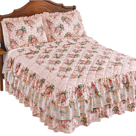 Pink Rose Floral Trellis Bedspread with Quilted Detail and Ruffled Skirt - Bedroom Décor ()