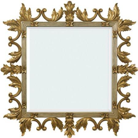 - Wall Mirror Alden Parkes Gold Laurel Leaf Floral Tie Hand Carved Mahogany Square