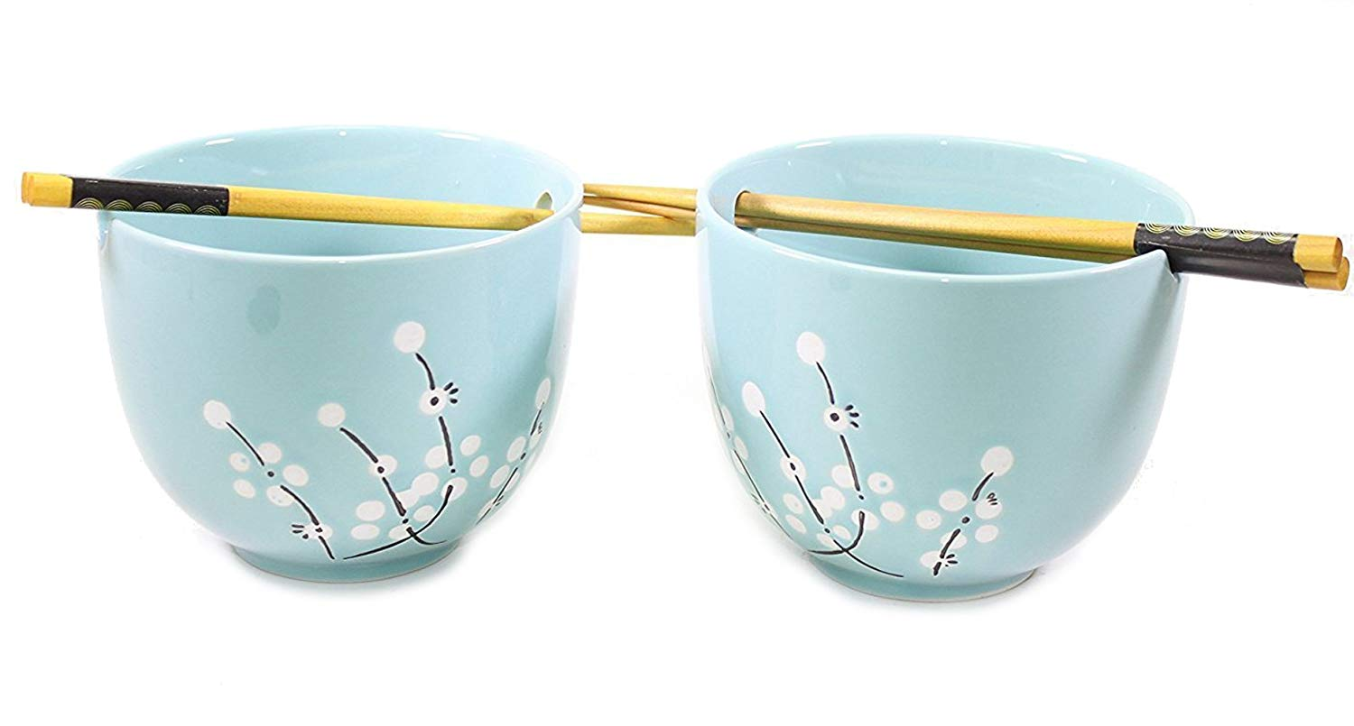 ラーメンボウル[Set of 2] Porcelain Noodle Soup Bowl with 2 Pairs Bamboo Chopsticks Perfect Bowls for... by Smiling JuJu