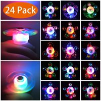 Light Up Rings LED Party Favors for Kids Prizes 24 Pack Glow In The Dark Party Supplies Bulk Hand Spin Stress Relief Anxiety Toys for Classroom Birthday Celebration Valentine Gifts
