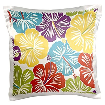 3dRose Vintage Hawaiian Hibiscus Print, Pillow Case, 16 by 16-inch