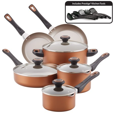 Farberware 16-Piece Nonstick Pots and Pans Set/Cookware Set, Copper