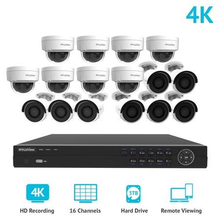 laview 16 channel 4k nvr security system w8 bullet 8 dome 8mp 2160p ip poe indooroutdoor surveillance cameras 3tb walmartcom - Nvr Security System
