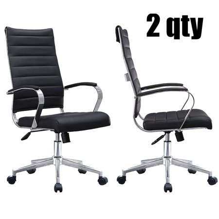 2xhome Set of 2 Black Modern High Back Tall Ribbed PU Leather Swivel Tilt Adjustable Chair Designer Boss Executive Management Manager Office Conference Room Work Task Computer ()