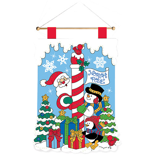 """Quick & Easy North Pole Wall Hanging Felt Applique Kit, 15"""" x 20, 1/2"""""""