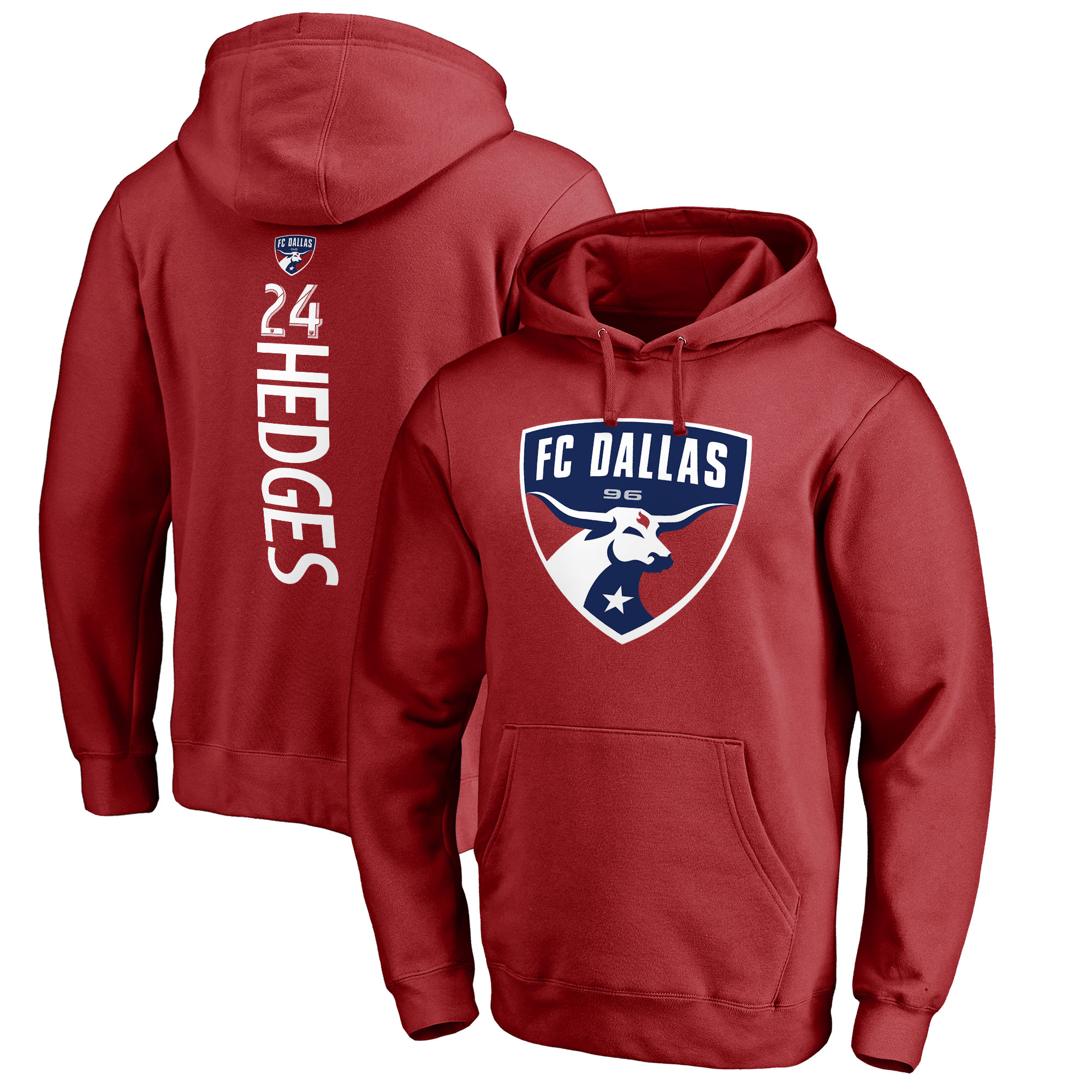 Matt Hedges FC Dallas Fanatics Branded Backer Name & Number Pullover Hoodie - Red