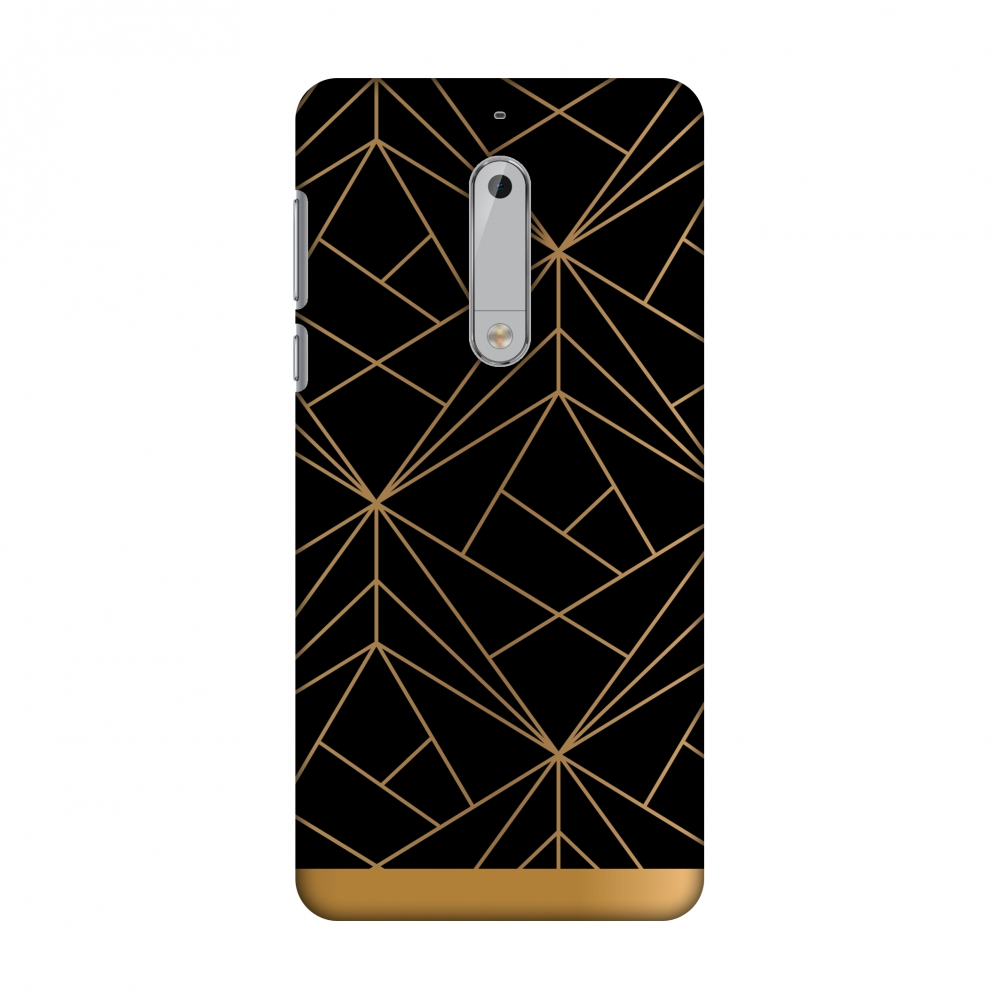Nokia 5 Case - Golden Elegance 2, Hard Plastic Back Cover. Slim Profile Cute Printed Designer Snap on Case with Screen Cleaning Kit