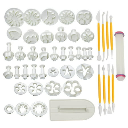 (46 PCS Fondant Cake Sugarcraft Decorating Kit Cutters Tools Mold Mould Sets)