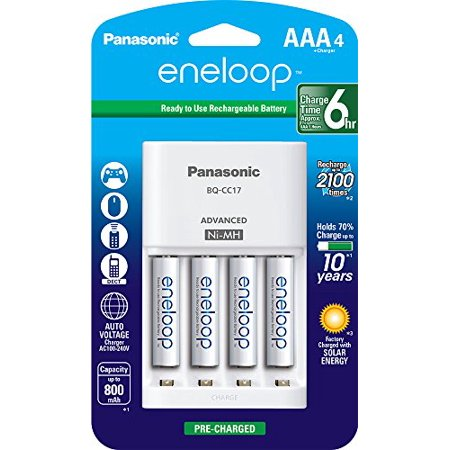 Panasonic K-KJ17M3A4BA Cell Battery Charger with eneloop AAA New 2100 Cycle Rechargeable Batteries, 4 Pack ()
