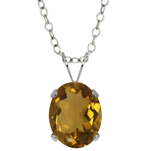 2.30 Ct Oval Shape Whiskey Quartz Sterling Silver Pendant