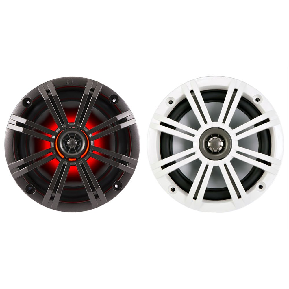 "43KM654LCW KICKER 6.5"" Marine Coaxial Speakers with 3/4"" Tweeters, LED Grillles, Pair, 4-Ohm"