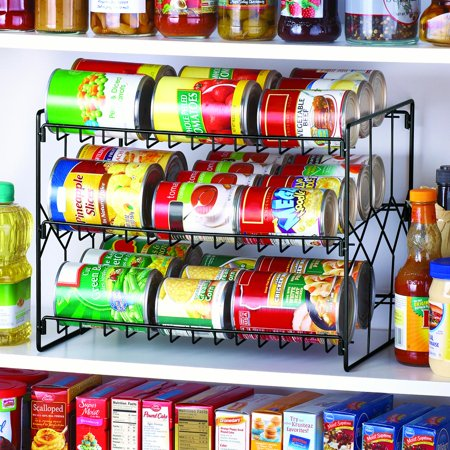 Can Storage Organizer Rack, 3-Tier Storage and Space Saving Pantry or Kitchen Solution, Black (Can Organizer For Pantry)