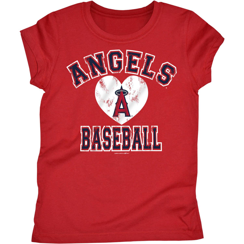 794d20af405 MLB Los Angeles Angels Girls Short Sleeve Team Color Graphic Tee