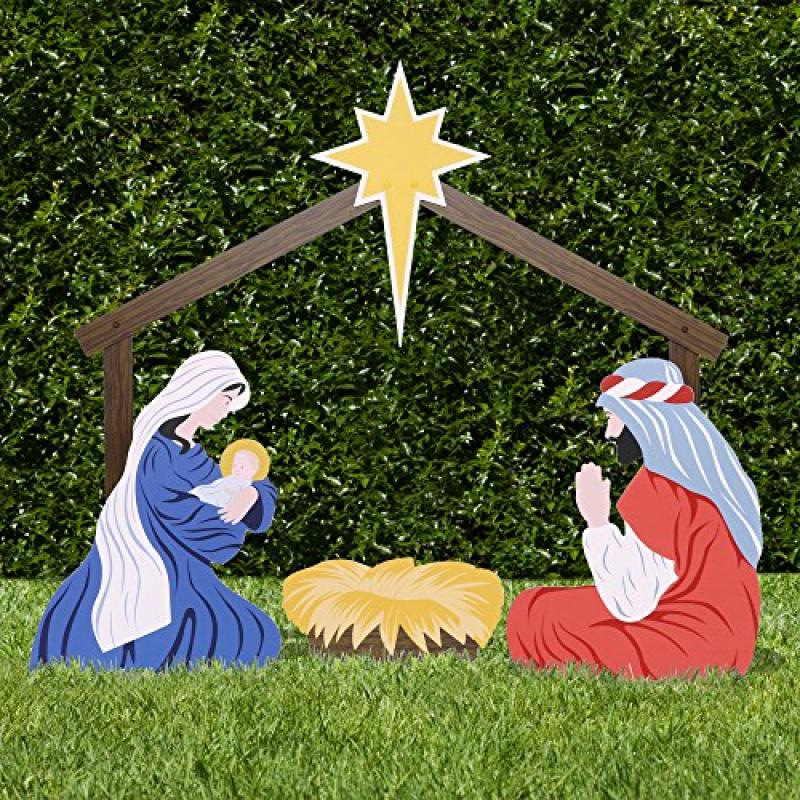 Outdoor christmas yard nativity scene what phrase