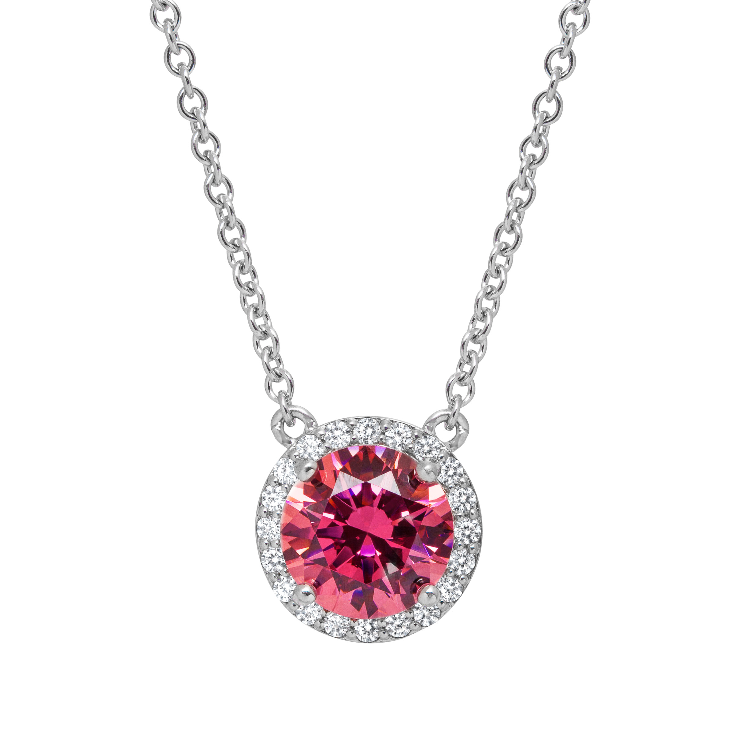 Pendant Necklace with Swarovski Zirconia in Sterling Silver