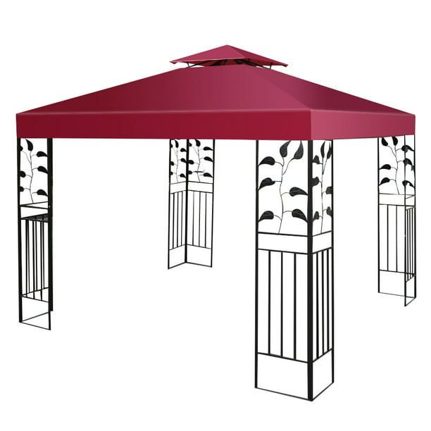 Costway 10' X 10' Gazebo Top Cover Patio Canopy Replacement 2-Tier, Red