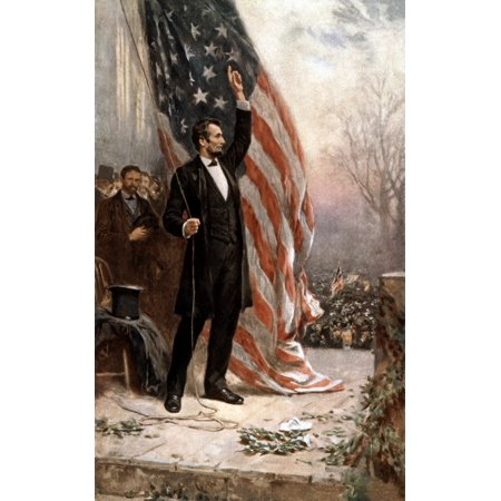 Digitally restored vintage American Civil War painting featuring President Abraham Lincoln holding the American flag as he speaks before a crowd Poster Print (8 x 10) (Civil War Paintings)