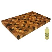 """HomeProShops 1-1/4""""x12""""x19"""" Reversible Solid Mixed Hardwoods END-GRAIN Wood Butcher Block Cutting Board with """"FREE"""" Mineral Oil included"""