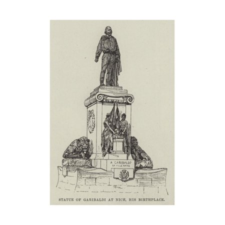 Statue of Garibaldi at Nice, His Birthplace Print Wall Art (Nice Statue)