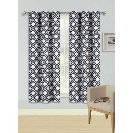 - F1 BLACK 1-PC Printed BLACKOUT Room Darkening Grommet Window Curtain Treatment, Insulated Round Diamond Panel 37