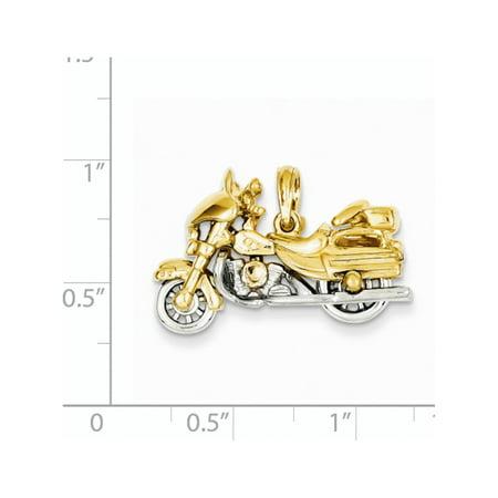 14k or jaune deux tons 3-D moto (27x18mm) Pendentif / Breloque - image 1 de 2