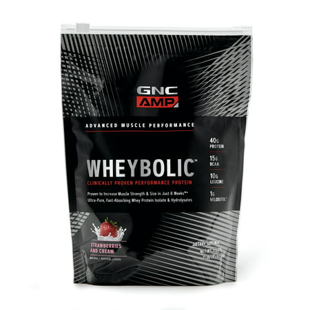 GNC AMP Wheybolic Whey Protein Powder, Strawberries and Cream, 10 Servings, Contains 40 Protein, 15g BCAA, and 10g Leucine Per (Gnc Whey Protein Vs On Whey Protein)