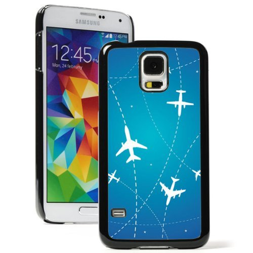 Samsung Galaxy (S5 Active) Hard Back Case Cover Airplane Routes and Stars on Blue (Black)