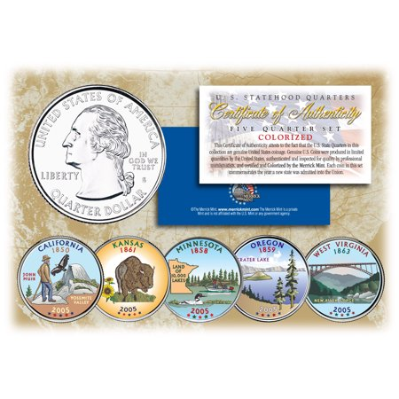 2005 US Statehood Quarters COLORIZED Legal Tender 5-Coin Complete Set w/Capsules