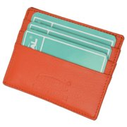 Premium Orange Soft Genuine Leather Simple Credit Card Holder