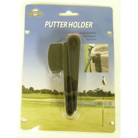 On Course Putter Holder With Ball Marker (Black, Clip On Golf Bag Accessory) NEW - Night Time Golf Course