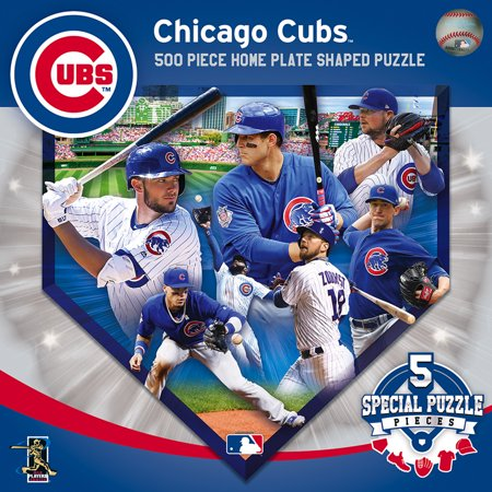 MasterPieces Chicago Cubs 500 Piece Home Plate Shaped Puzzle ()