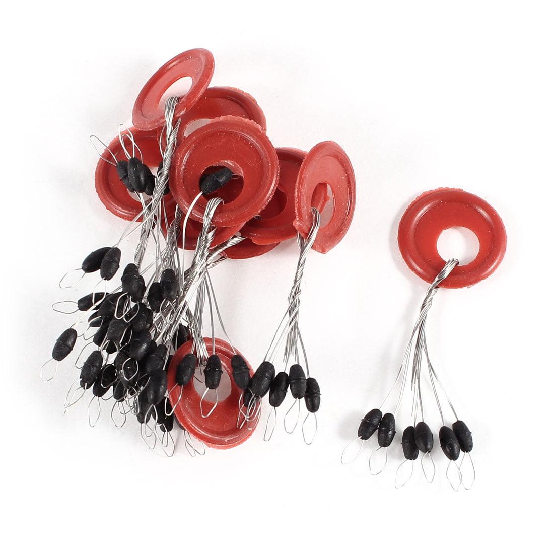 10 Pcs Black Beads Rubber Stopper 6 in 1 Fishing Floater Bobber Sinker by Unique-Bargains