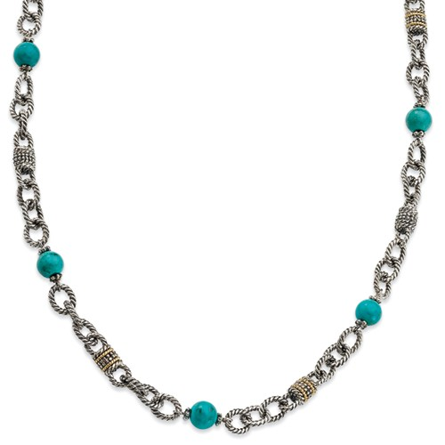Sterling Silver with 14k Yellow Gold Turquoise 20in Necklace